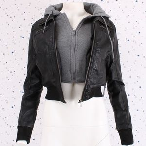 Jackets & Blazers - Hooded Layered Zip Up Cropped Faux Leather Jacket